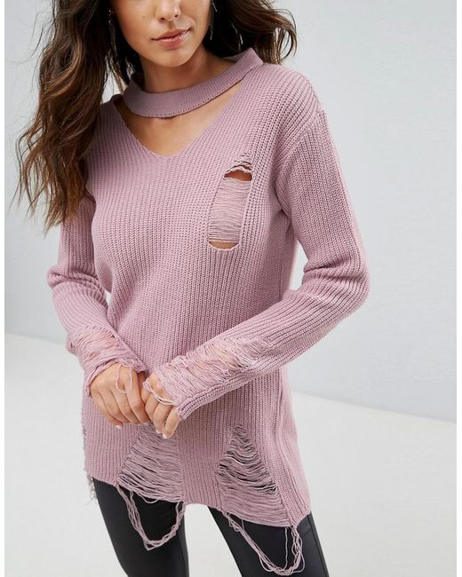 Outlet Manchester Great Sale Ladder Detail Choker Neck Jumper - Pink Club L Cheap Sale Affordable Outlet For Nice jhs3U2Mbh3