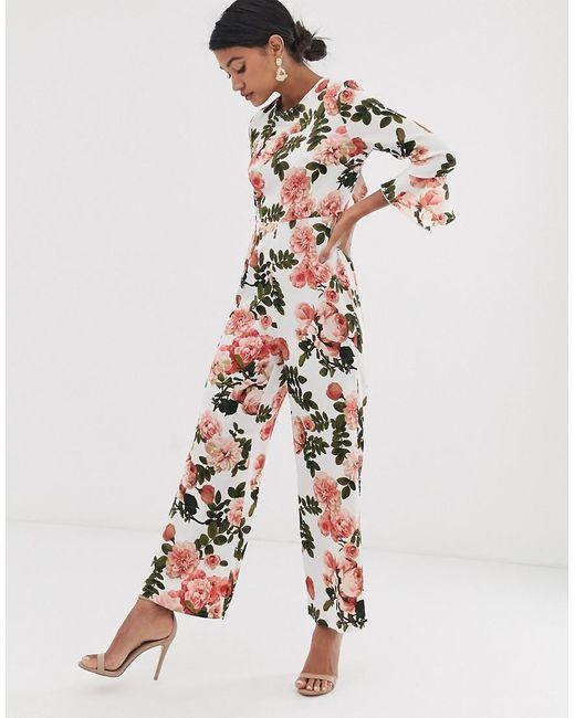 UNIQUE21 Multicolor Satin Floral Open Back Jumpsuit