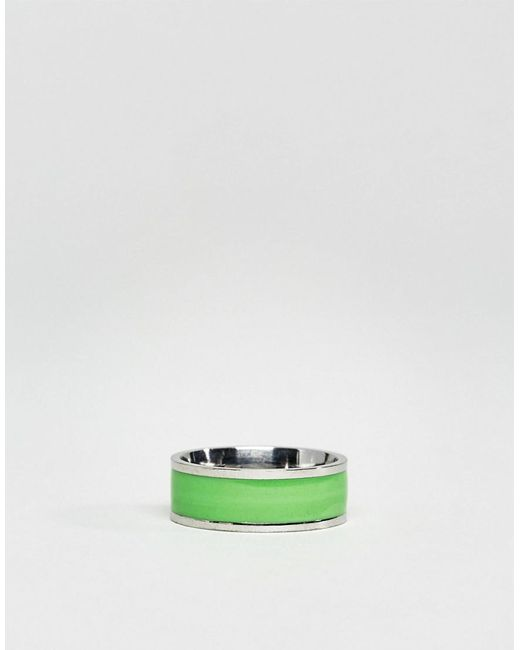 Reclaimed Vintage Inspired Ring With Green Band - Silver B0iv7