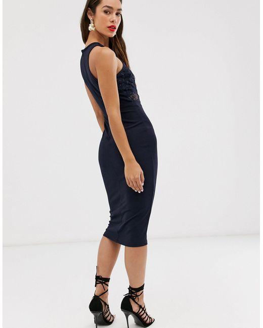 Кружевное Платье Миди -черный AX Paris, цвет: Blue