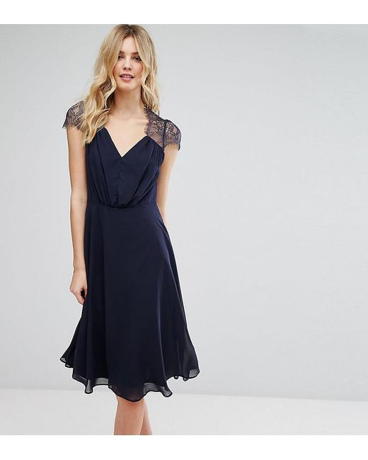 ASOS - Blue Kate Lace Midi Dress - Lyst