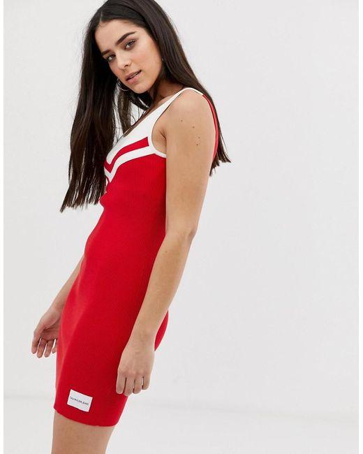 Calvin Klein Geribbelde Jurk Met Chevrondetail in het Red