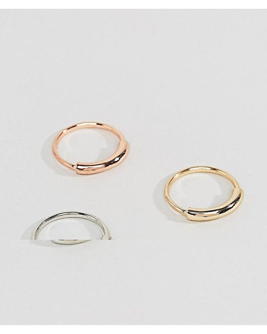 ASOS - Multicolor Ditsy Ring Pack In Mixed Metal Finish for Men - Lyst