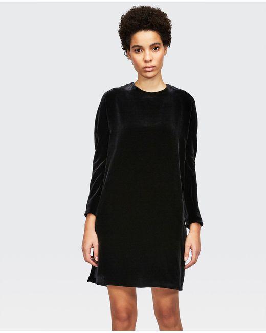 Aspesi Black Tunic Dress In Smooth Silk