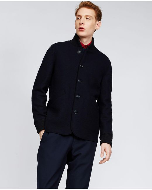 Aspesi Boiled Wool Jacket Avio In Blue For Men Lyst