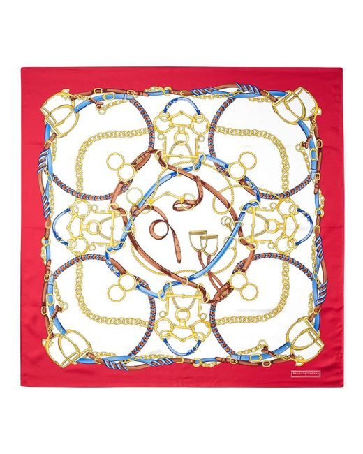 Aspinal - Red Ladies Handmade Horseshoe Silk Scarf - Lyst
