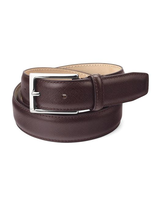 Aspinal - Men's Borough Belt In Brown Saffiano for Men - Lyst