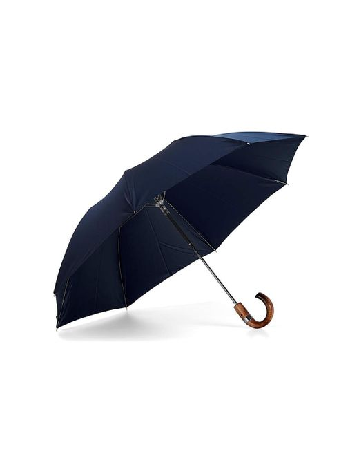 Aspinal Luxury Gents Umbrella - Compact Umbrella With Wooden Handle In Blue