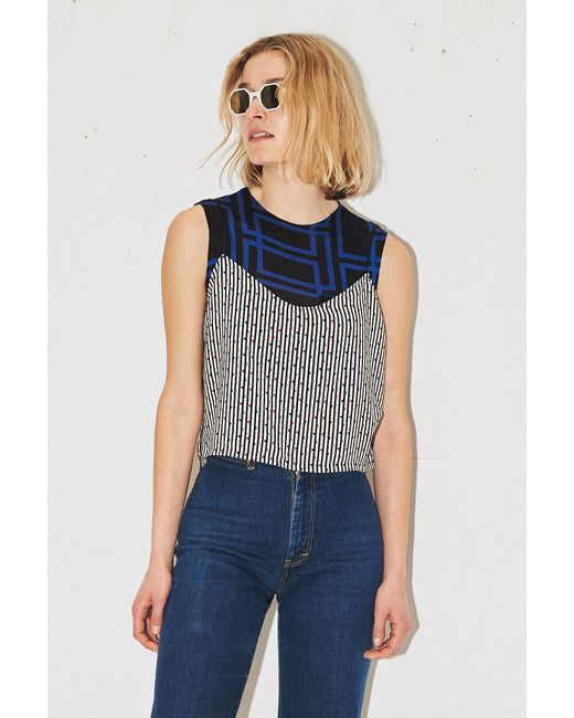 Assembly New York - Blue Polka Stripe Scoop Cami - Lyst