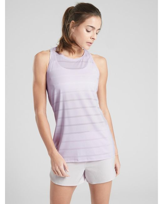 57c6d09fe12ae5 Lyst - Athleta High Neck Chi Double Stripe Tank in Purple