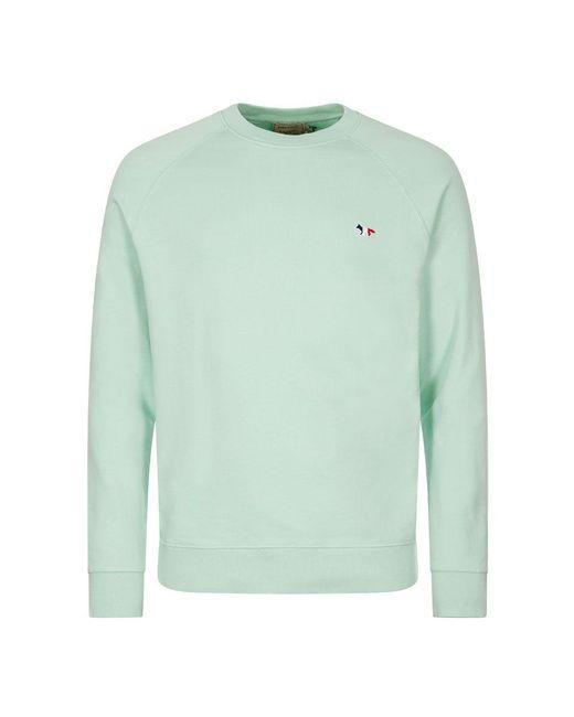 Maison Kitsuné Green Tricolour Sweatshirt - Mint for men