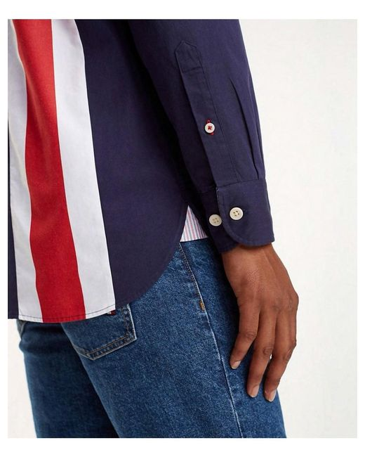 e140623b ... Tommy Hilfiger - Blue Oversized Fit Icon Panelled Shirt for Men - Lyst  ...