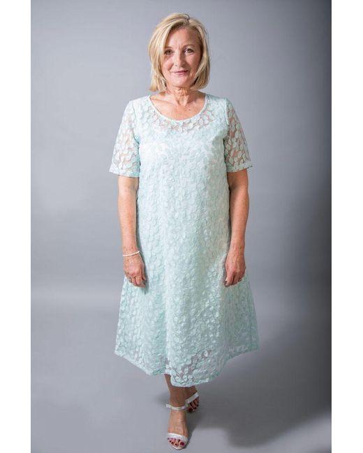 Out Of Xile Blue Leaf Embroidery Dress Aqua