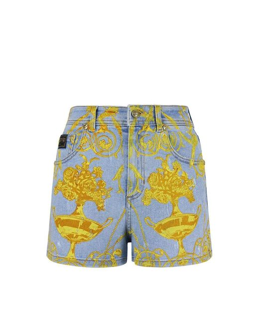 Versace Jeans Shorts Light Blue And Gold Woman