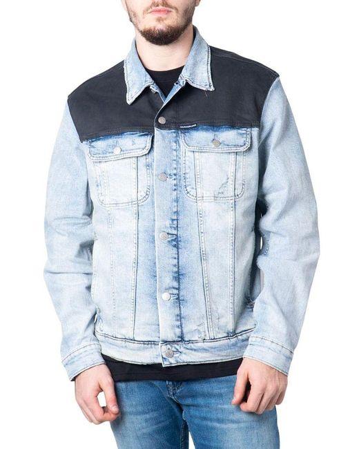 Calvin Klein Men's J30j315530lightblue Blue Cotton Jacket for men