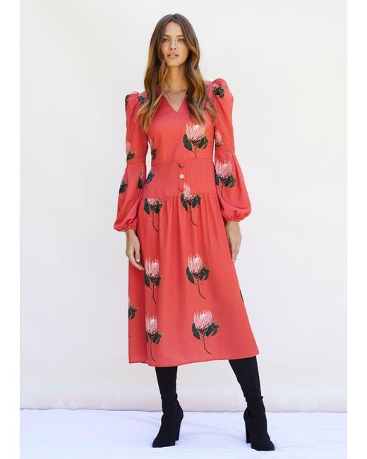 PHOEBE GRACE Daisy Midaxi Dress With Puffed Sleeves And V-neck In Red Protea