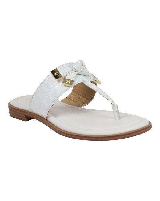Michael Kors White Ripley Leather Thong Slide