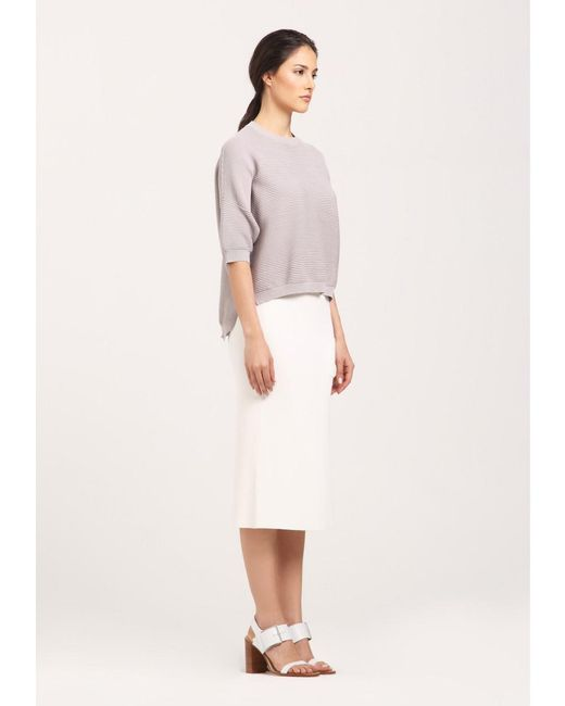 Paisie - Gray Half Sleeve Fine Knit Ribbed Jumper With Dip Hem In Light Grey - Lyst