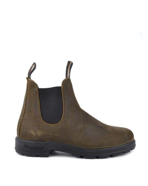 Blundstone Brown Original Chelsea Boot #1615 Rub Suede Dark Olive for men