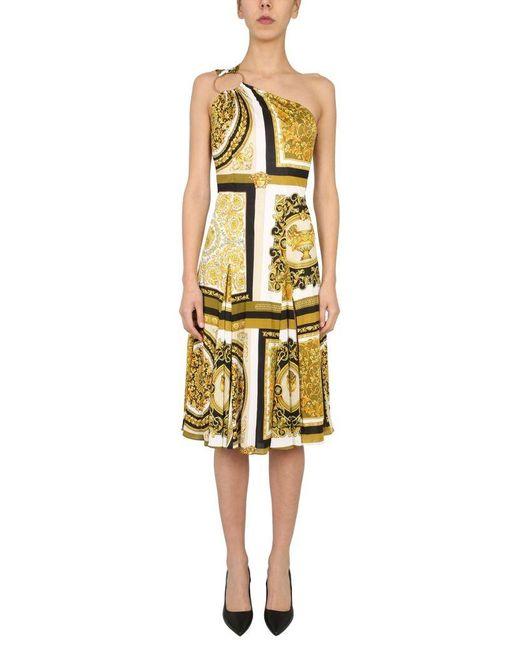 Versace Yellow One Shoulder Dress