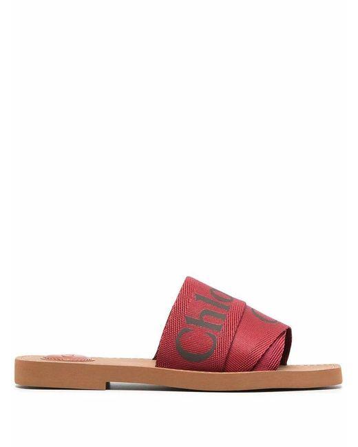 Chloé Chlo㉠Women's Chc19u1880827q Red Cotton Sandals