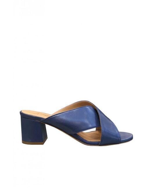 Lorenzo Masiero - Blue Leather Mules S172b012 Size: 35, - Lyst