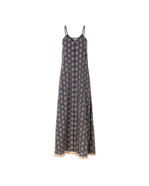 Naudic Blue Criss Cross Maxi Dress Roza Schiffly Naug-1173