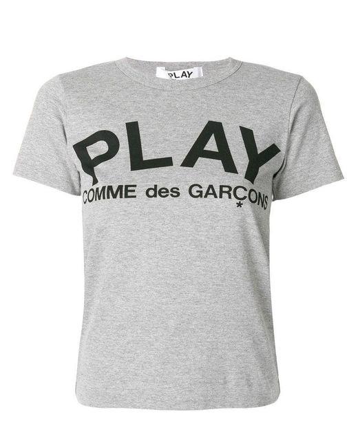 COMME DES GARÇONS PLAY Gray Comme Des Garã‡ons Play Women's P1t0791 Grey Cotton T-shirt