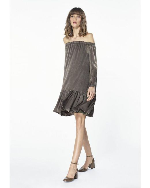 fc488eb061c0 ... Paisie - Metallic Off The Shoulder Shift Dress With Gathered Hem In  Silver - Lyst ...