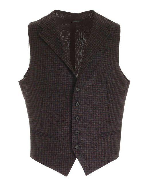 Tagliatore Men's Dennisf34fig322em982 Brown Wool Vest for men