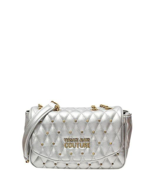 Versace Jeans Multicolor Quilted Shoulder Bag With Studs