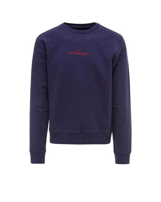 Maison Margiela Blue Cotton Sweatshirt for men