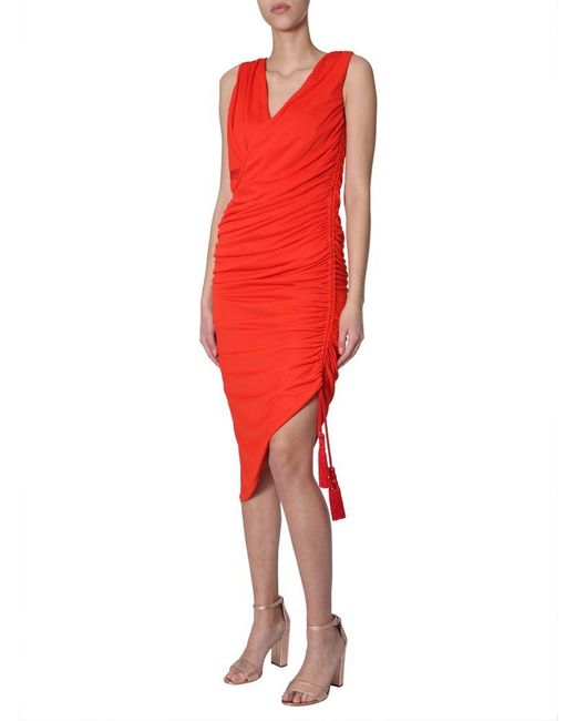 Lanvin Red Ruched Midi Dress