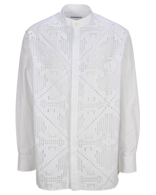 Valentino White Macrame Knit Shirt for men