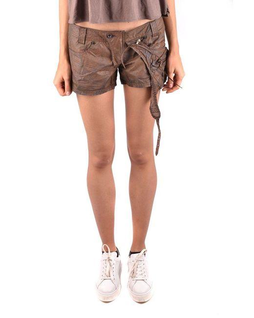Daniele Alessandrini Red Mini Shorts In Brown