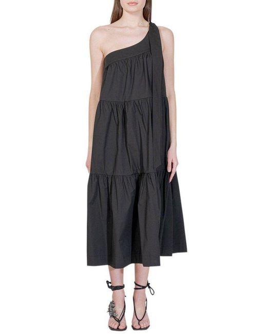 Erika Cavallini Semi Couture Black Ruffled One-shoulder Long-dress