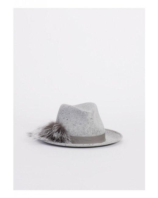 Fabiana Filippi Gray Fedora Hat