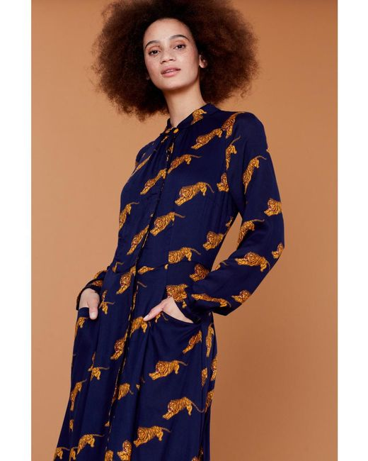 Atterley - Blue Emily And Fin Colette Tigers Shirt Dress - Lyst