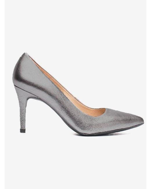 Unisa Metallic Silver Court Shoe Pointed Toe
