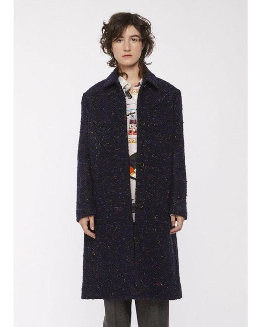 Paul Smith Blue Boucle Tweed Epsom Coat