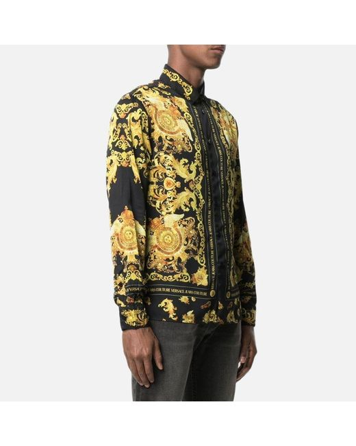 Versace Jeans Black Shirt Baroque Fantasy Print for men