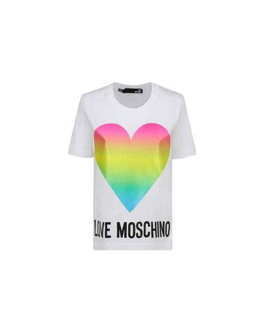 Love Moschino Women's W4f152tm3876a00 White Other Materials T-shirt