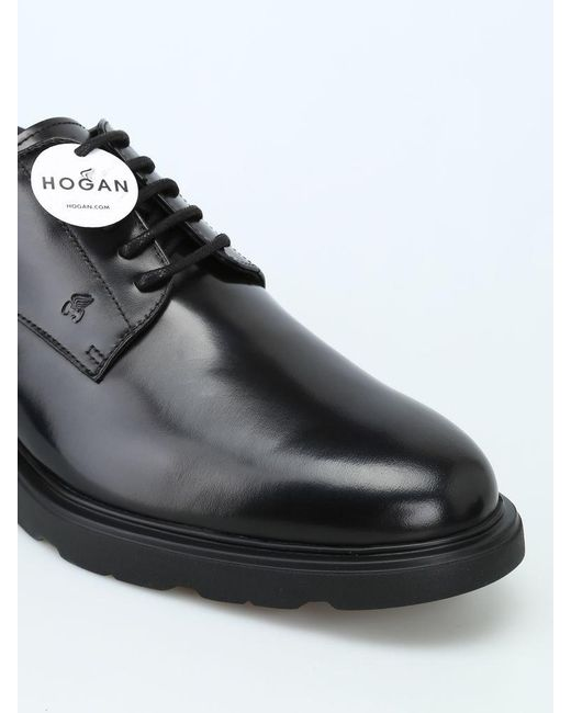 Hogan Leather Route H304 Derby Shoes in Black for Men - Save 36 ...