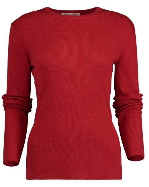 Michael Kors Red Crimson Featherweight Cashmere Top