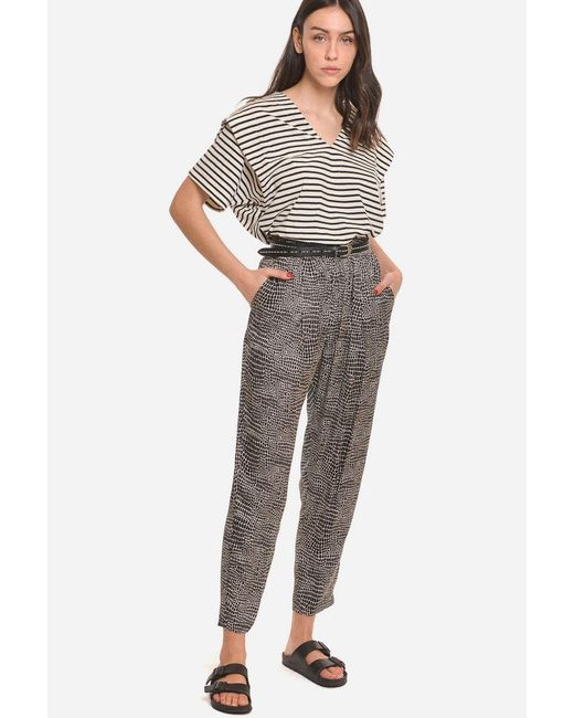 8pm Gray Fluid Pants With Printed Fantasy