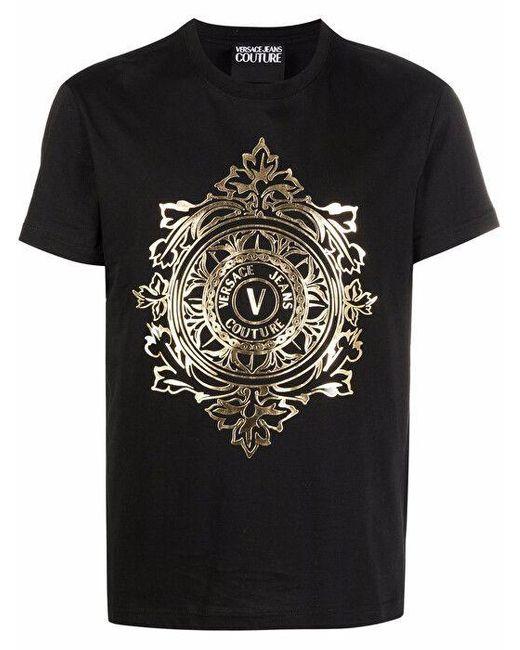 Versace Jeans Black Gold Logo Print T-shirt for men