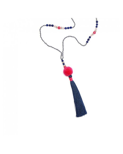 TRIBE + FABLE - Gray Tribe + Fable Pom Pom Tassel Necklace - Lyst