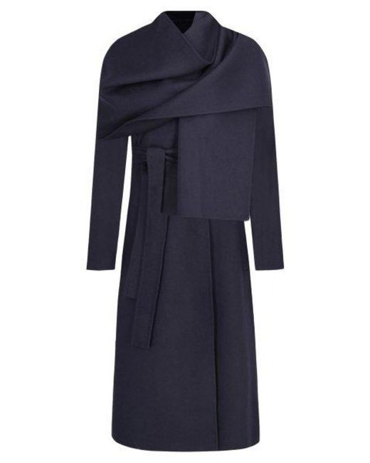 BOSS Blue Relaxed-fit Belted Trench Coat With Detachable Shawl