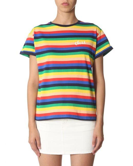 Être Cécile Multicolor Rainbow Striped Cotton T-shirt