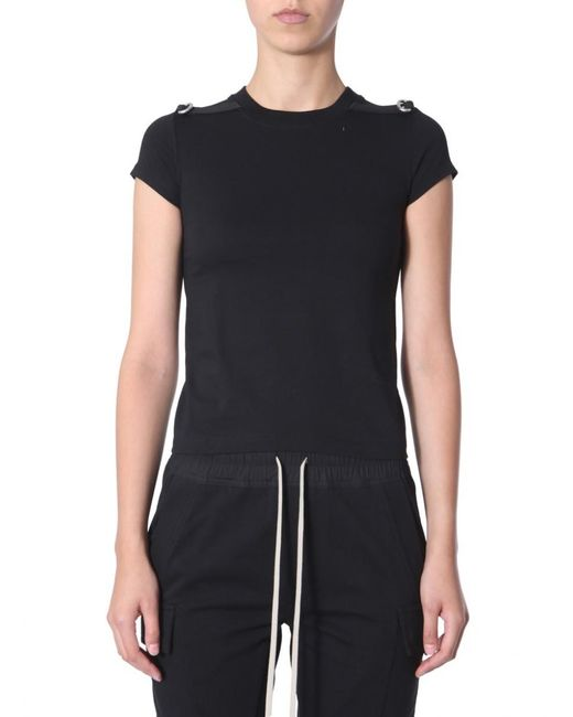 Rick Owens Black Level T Cotton T-shirt With Contrast Inserts